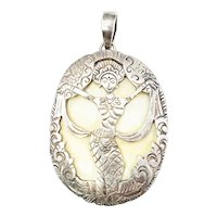 Vintage Siam Sterling Silver Overlay Shell Dancing Goddess Pendant