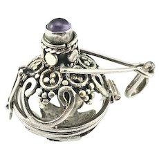 Vintage Sterling Silver Amethyst Harmony Ball Locket Pendant