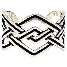 Taxco Mexico TH-55 Sterling Silver Oxidized Openwork Celtic Knot Cuff Bracelet