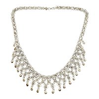 Middle Eastern Silver Rosette Bib Necklace with Round Dangles