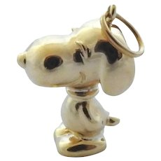 1950's Vintage Cartier 18K Solid Yellow Gold Snoopy Dog Pendant