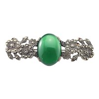 Vintage Sterling Silver Chrysoprase Marcasite Flower Brooch/Pin