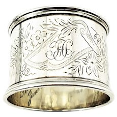 Vintage Towle Sterling Silver Etched Monogrammed Napkin Ring 8744/9