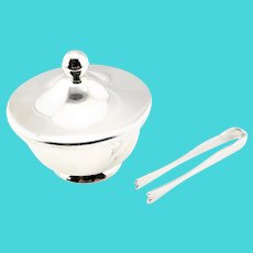 Vintage WEB Sterling Silver Lidded Sugar Cube Bowl with Tongs