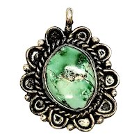 Native American Bernice Taylor Navajo Sterling Silver Turquoise Pendant