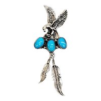 Native American Richard Begay Navajo Sterling Silver Turquoise Eagle Pendant