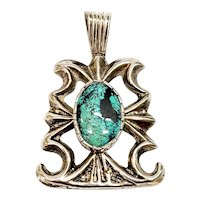 Native American Silver and Turquoise Sandcast Pendant
