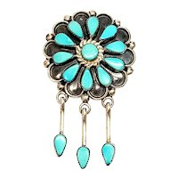 Native American Zuni Signed Delbert Booqua Silver Turquoise Petit Point Flower Pendant/Pin