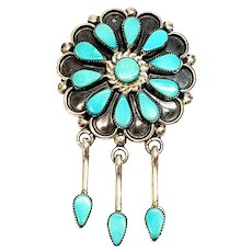 Native American Zuni Signed Delbert Booqua Silver Turquoise Petit Point Flower Pendant/Pin