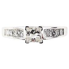 Vintage 14 Karat White Gold Princess Cut Diamond Engagement Ring Size 5.25