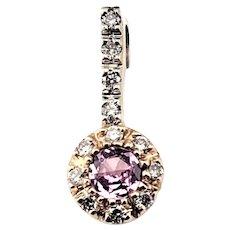 Vintage 14 Karat White and Yellow Gold Pink Sapphire and Diamond Pendant
