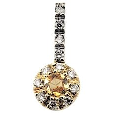 Vintage 18 Karat Yellow and White Gold Yellow Sapphire and Diamond Pendant