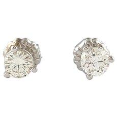 Vintage 14 Karat White Gold Diamond Stud Earrings .43 TCW.
