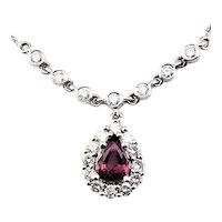 Vintage 14 Karat White Gold Ruby and Diamond Necklace GAI Certified