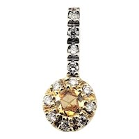 Vintage 14 Karat Yellow and White Gold Yellow Sapphire and Diamond Pendant GAI Certified