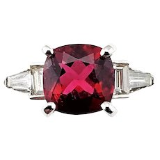 Vintage 14 Karat White Gold Garnet and Diamond Ring Size 9 GAI Certified