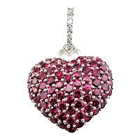 Vintage 14 Karat White Gold Ruby and Diamond Heart Pendant GAI Certified