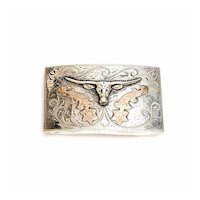 Vintage Mexico JGC Sterling Silver Gold Tone Longhorn Belt Buckle