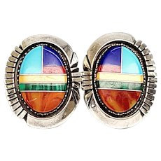 Native American Irv Monte Sterling Silver Multi-Stone Channel Inlay Earrings