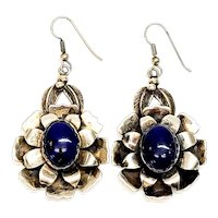 Native American Signed ND Sterling Silver Lapis Lazuli Flower Earrings