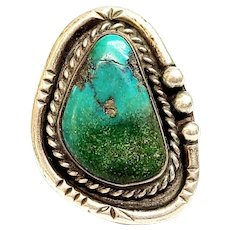 Native American Silver Turquoise Triangular Ring, Size 7 3/4