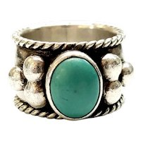 Sam Lovato Santo Domingo Sterling Silver Turquoise Cigar Band Ring, Size 5