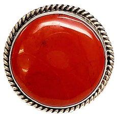 Southwestern Kenny B Bracken Sterling Silver Red Jasper Ring, Size 7 3/4