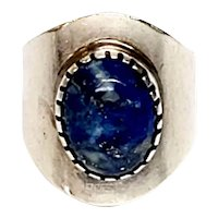 Native American Signed Sterling Silver Lapis Lazuli Wide Ring, Size 10.5