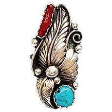 Native American Apachito Sterling Silver Turquoise and Coral Feather Ring, Size 9