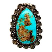 Native American Elongated Silver and Turquoise Ring, Size 7 3/4