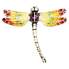 Italy Sterling Silver Thistle & Bee Rainbow Enamel Dragonfly Pin