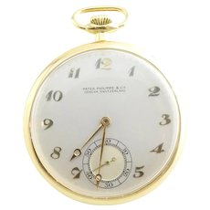 Vintage Patek Philippe 18K Yellow Gold Open Face Pocket Watch