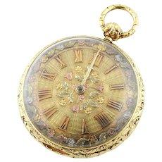 Verge Crown Wheel Key Winding 18K Yellow Gold Ornate Pocket Watch