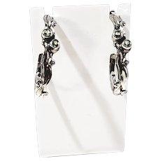 Hagit Gorali HG Israel Sterling Silver Swirled Peridot Hoop Earrings