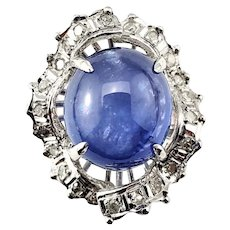 Vintage Star Sapphire and Diamond Ring Size 6.5 GAI Certified