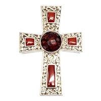 Whitney Kelly Sterling Silver Red Jasper Cut Glass Cross Pendant