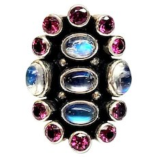 Nicky Butler Sterling Silver Opal and Pink Rhodolite Ring, Size 7