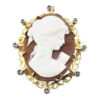 Vintage 18 Karat Yellow Gold and Diamond Cameo Brooch/Pendant