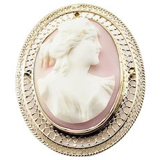 Vintage 10 Karat Yellow Gold Pink Cameo Brooch/Pendant