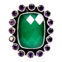 Nicky Butler Sterling Silver Green Chalcedony & Amethyst Ring, Size 7
