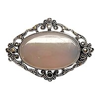 Vintage German Art Deco Sterling Silver Marcasite Brooch with Tanslucent Gray Stone