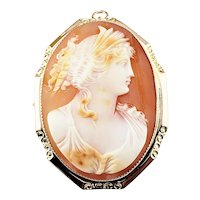 Antique George L. Paine Co. 10 Karat Yellow Gold Cameo Brooch/Pendant
