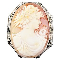Vintage 14 Karat Yellow and White Gold Cameo Brooch/Pendant
