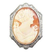 Vintage 14 Karat White Gold Filigree Cameo Brooch