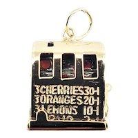Vintage 14 Karat Yellow Gold Articulated Slot Machine Charm
