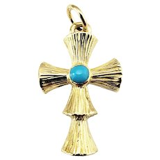 Vintage 18 Karat Yellow Gold and Turquoise Cross Pendant