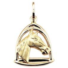 Vintage 14 Karat Yellow Gold Horse Pendant