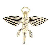 Vintage 14 Karat Yellow Gold Flying Fish Charm