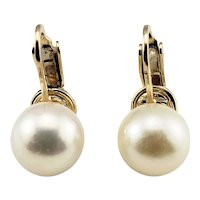 Vintage 14 Karat Yellow Gold Clip On Pearl Earrings