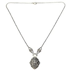 Vintage Ciner Sterling Silver Marcasite Necklace
